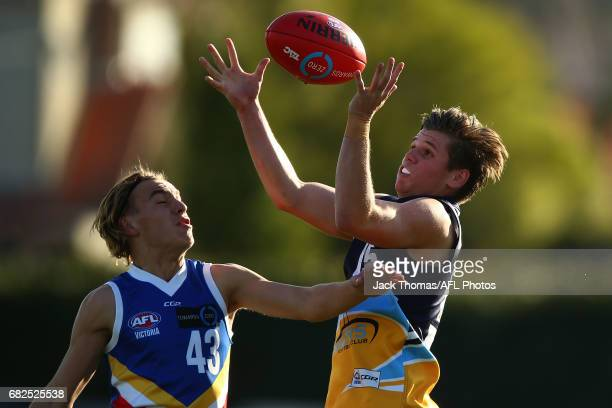 Darby Henderson of the Pioneers marks the ball during the round seven TAC Cup match between the Eastern Ranges and the Bendigo Pioneers at Box Hill...