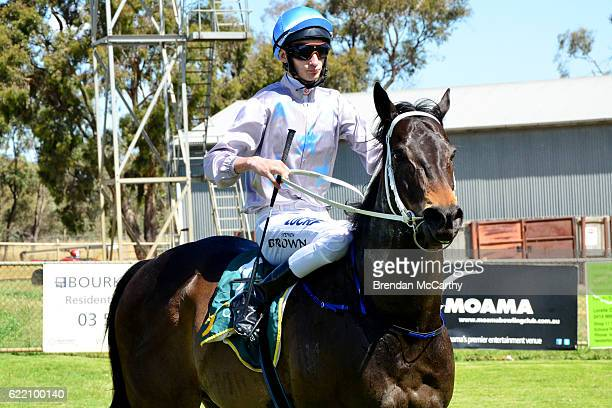 Darci's Money ridden by Stephen M Brown returns to the mounting yard after winning 1Print BM58 Handicap at Echuca Racecourse on November 10 2016 in...