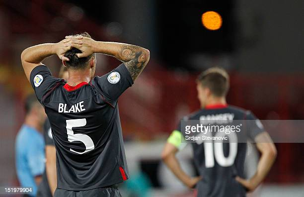Darcy Blake and Aaron Ramsey of Wales looks rejected after the FIFA 2014 World Cup Qualifier at stadium Karadjordje Park between Serbia and Wales on...