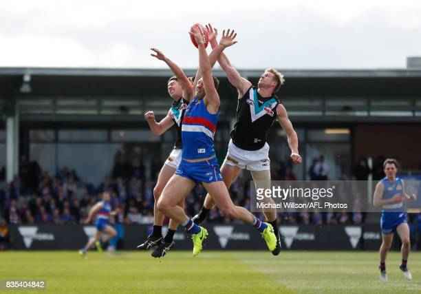 Darcy ByrneJones of the Power Travis Cloke of the Bulldogs and Tom Jonas of the Power compete for the ball during the 2017 AFL round 22 match between...
