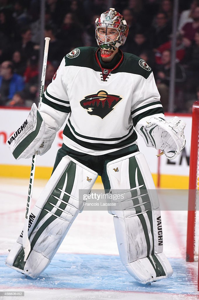 Darcy Kuemper of the Minnesota Wild before the game against the Montreal Canadiens in the NHL game at the Bell Centre on November 8 2014 in Montreal...