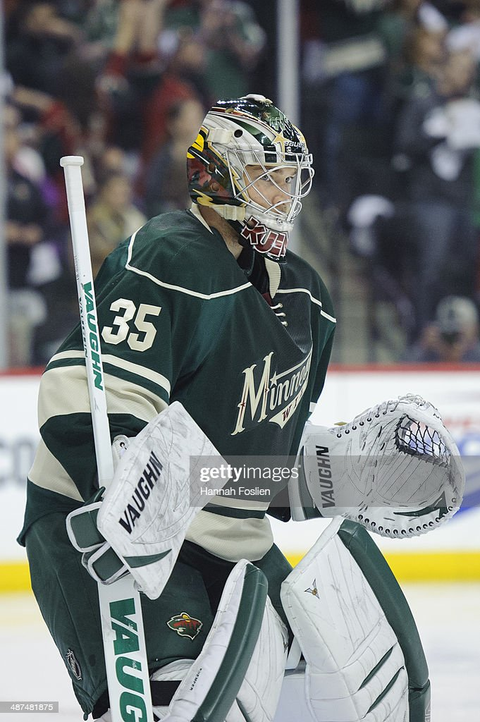 Darcy Kuemper of the Minnesota Wild defends the net against the Colorado Avalanche in Game Six of the First Round of the 2014 NHL Stanley Cup...
