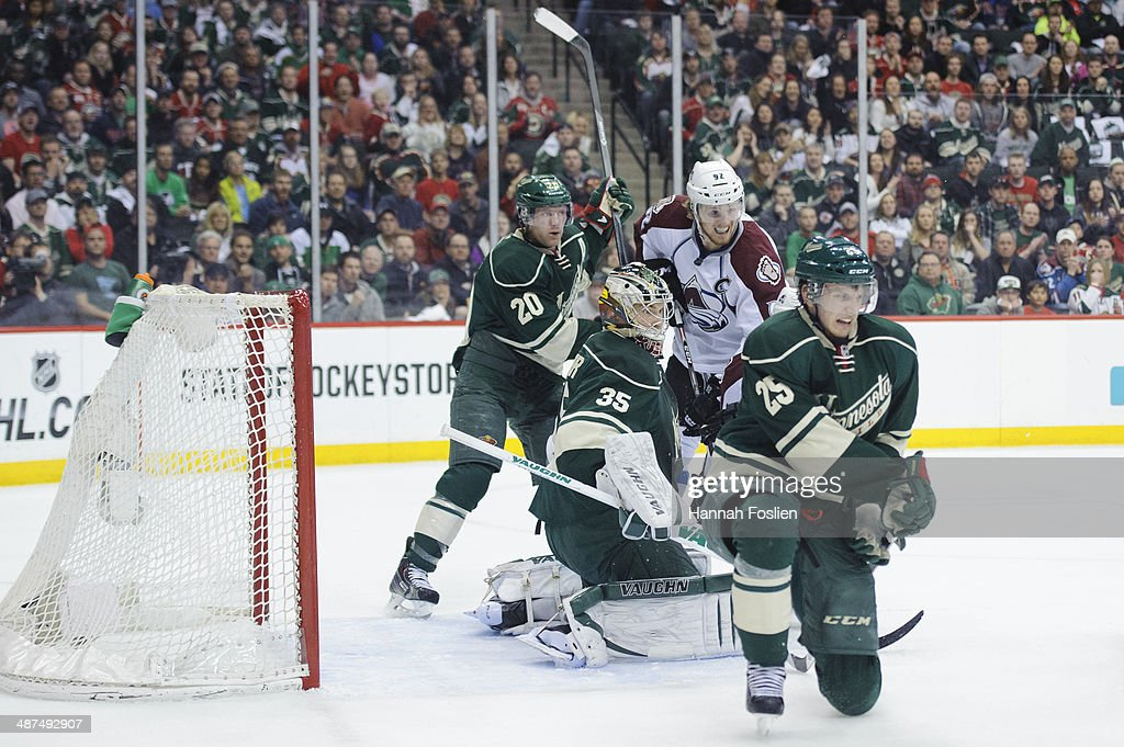Darcy Kuemper #35 of the Minnesota Wild defends the net with help from teammates Ryan Suter #20 and Jonas Brodin #25 as Gabriel Landeskog #92 of the Colorado Avalanche looks to score in Game Six of the First Round of the 2014 NHL Stanley Cup Playoffs on April 28, 2014 at Xcel Energy Center in St Paul, Minnesota. The Wild defeated the Avalanche 5-2.