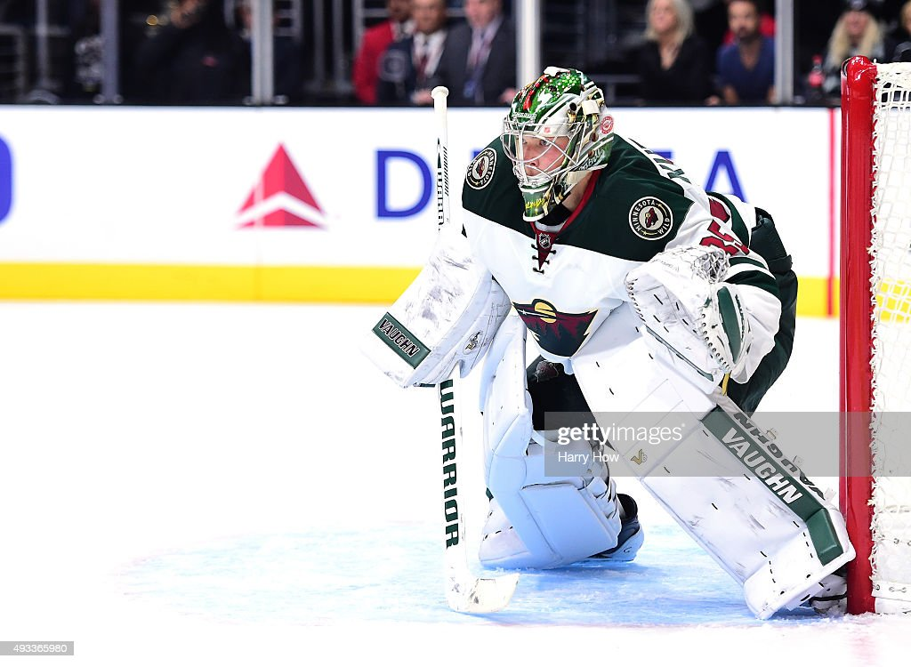 Darcy Kuemper of the Minnesota Wild in goal against the Minnesota Wild at Staples Center on October 16 2015 in Los Angeles California
