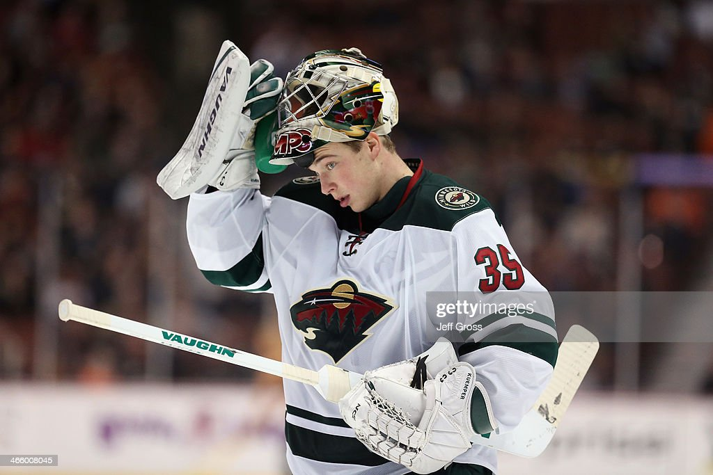 Darcy Kuemper of the Minnesota Wild looks on against the Anaheim Ducks at Honda Center on January 28 2014 in Anaheim California