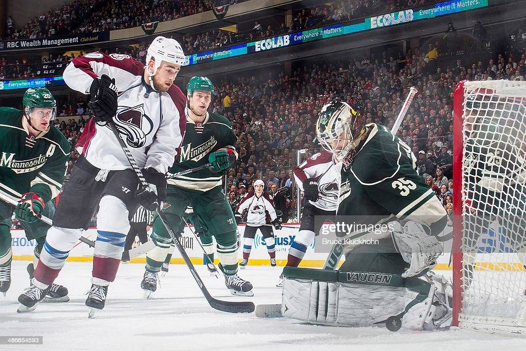 <a gi-track='captionPersonalityLinkClicked' href=/galleries/search?phrase=Darcy+Kuemper&family=editorial&specificpeople=6270733 ng-click='$event.stopPropagation()'>Darcy Kuemper</a> #35 of the Minnesota Wild makes a save against <a gi-track='captionPersonalityLinkClicked' href=/galleries/search?phrase=Ryan+O%27Reilly&family=editorial&specificpeople=4754037 ng-click='$event.stopPropagation()'>Ryan O'Reilly</a> #90 of the Colorado Avalanche during Game Three of the First Round of the 2014 Stanley Cup Playoffs on April 21, 2014 at the Xcel Energy Center in St. Paul, Minnesota.