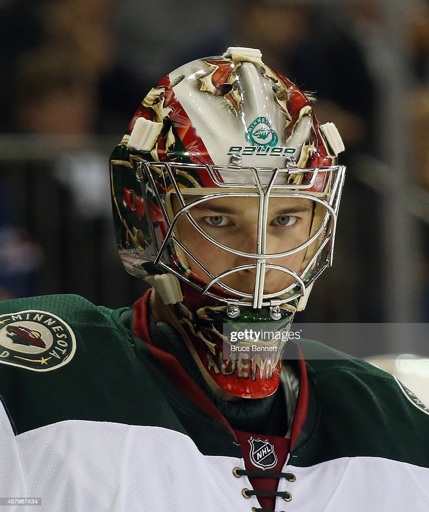 Darcy Kuemper of the Minnesota Wild skates against the New York Rangers at Madison Square Garden on October 27 2014 in New York City The Rangers...
