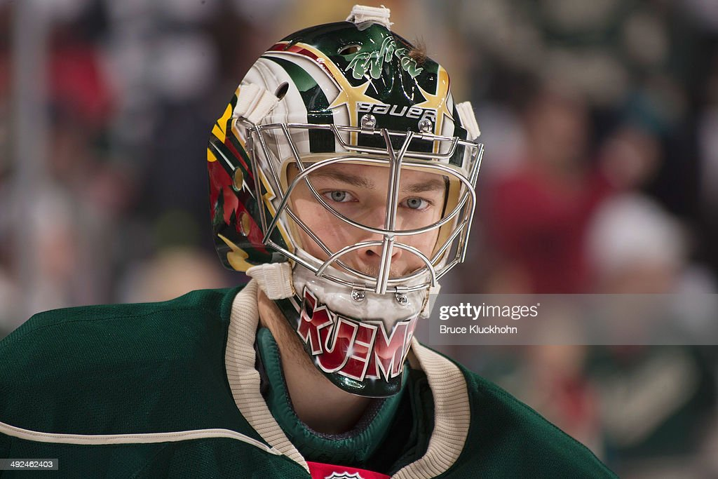 Darcy Kuemper of the Minnesota Wild warms up prior to Game Six of the Second Round of the 2014 Stanley Cup Playoffs against the Chicago Blackhawks on...