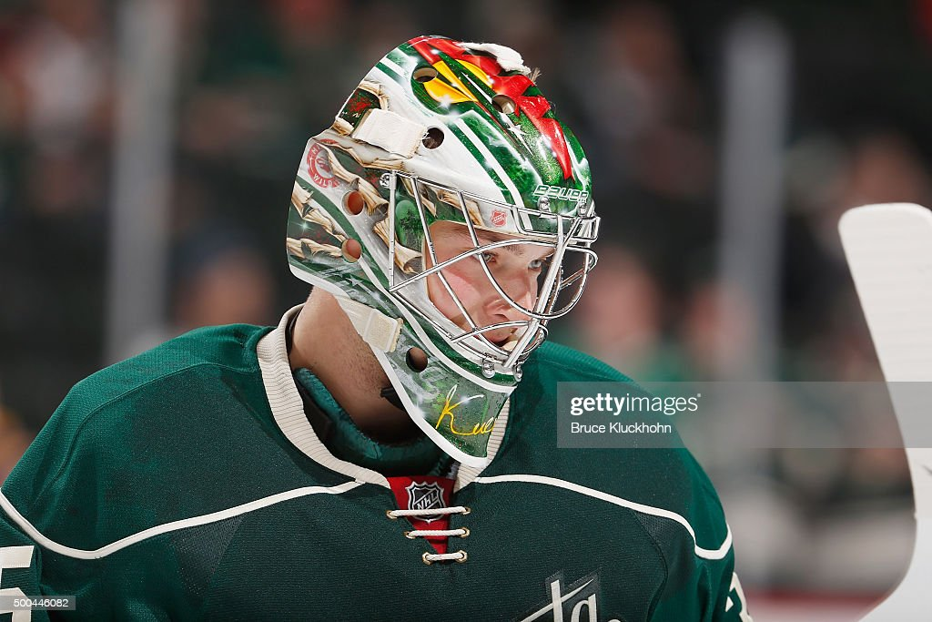 Darcy Kuemper of the Minnesota Wild warms up prior to the game against the Dallas Stars on November 28 2015 at the Xcel Energy Center in St Paul...