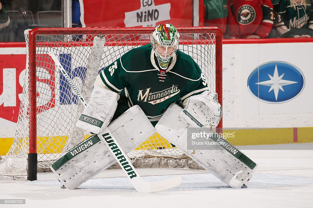 Darcy Kuemper of the Minnesota Wild warms up prior to the game against the Montreal Canadiens on December 22 2015 at the Xcel Energy Center in St...