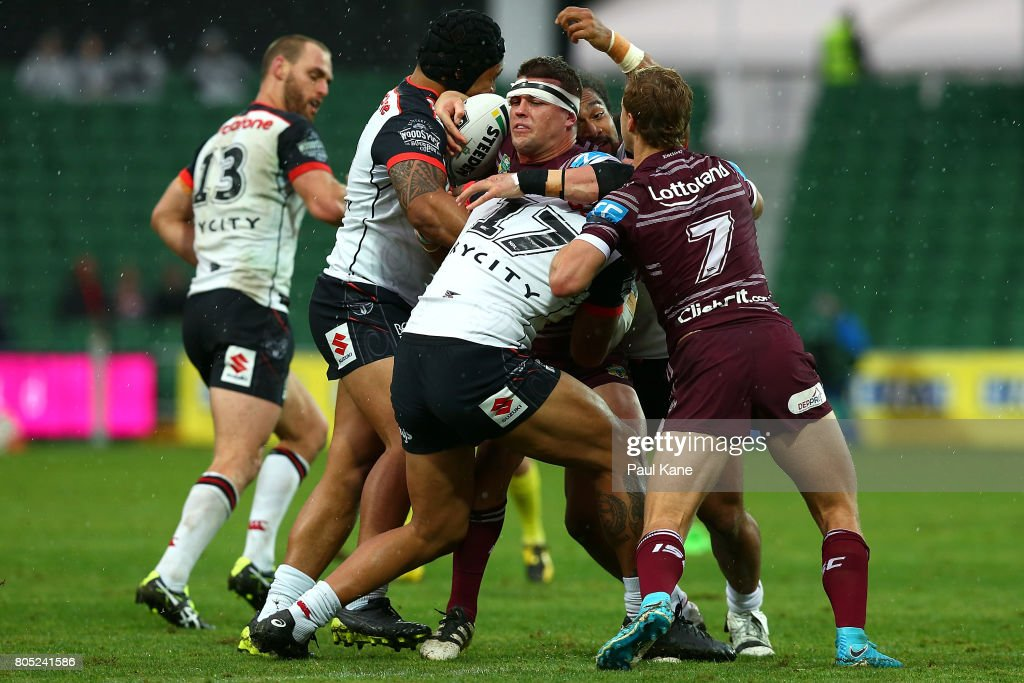Darcy Lussick of the Sea Eagles gets tackled during the round 17 NRL match between the Manly Sea Eagles and the New Zealand Warriors at nib Stadium on July 1, 2017 in Perth, Australia.