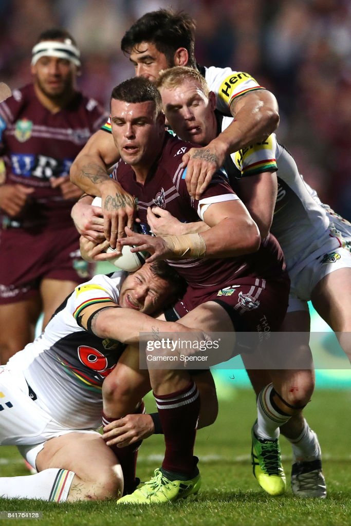 Darcy Lussick of the Sea Eagles is tackled during the round 26 NRL match between the Manly Sea Eagles and the Penrith Panthers at Lottoland on September 2, 2017 in Sydney, Australia.