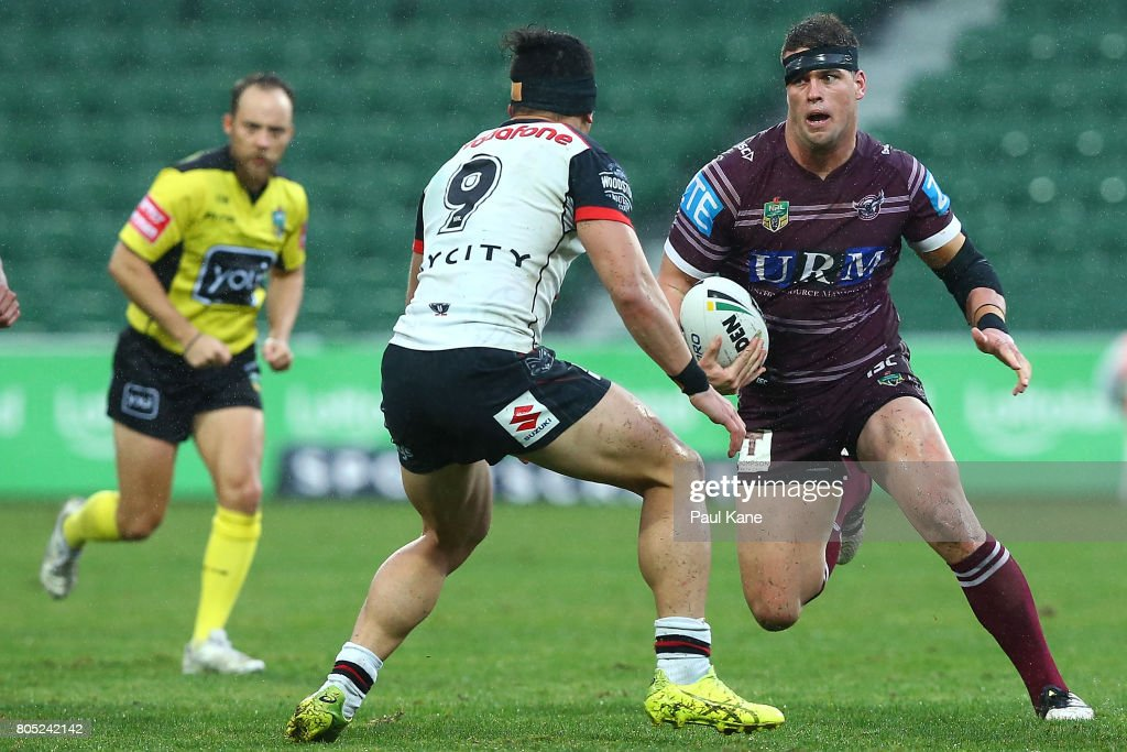 Darcy Lussick of the Sea Eagles runs the ball during the round 17 NRL match between the Manly Sea Eagles and the New Zealand Warriors at nib Stadium on July 1, 2017 in Perth, Australia.