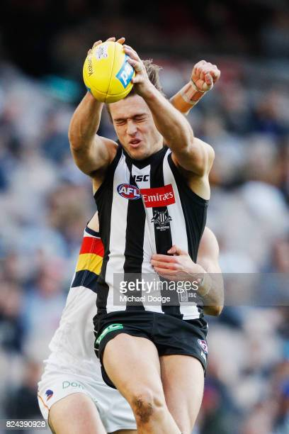 Darcy Moore of the Magpies marks the ball against Daniel Talia of the Crows during the round 19 AFL match between the Collingwood Magpies and the...