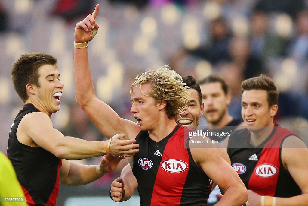 Darcy Parish of the Bombers celebrates a goal during the round six AFL match between the Carlton Blues and the Essendon Bombers at Melbourne Cricket...