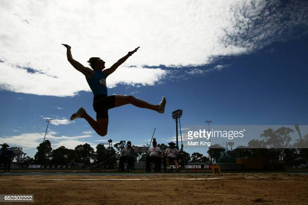 Darcy Roper of Queensland competes in the Men's Long Jump during the SUMMERofATHS Grand Prix on March 12 2017 in Canberra Australia