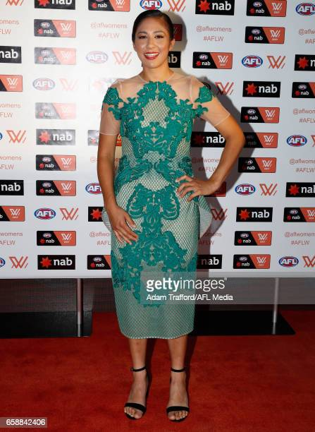 Darcy Vescio of the Blues arrives during the The W Awards at the Peninsula on March 28 2017 in Melbourne Australia