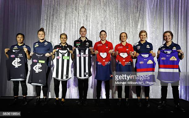 Darcy Vescio of the Blues Briana Davey of the Blues Moana Hope of the Magpies Emma King of the Magpies Melissa Hickey of the Demons Daisy Pearce of...