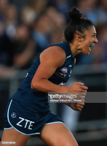 Darcy Vescio of the Blues celebrates a goal during the 2017 AFLW Round 01 match between the Carlton Blues and the Collingwood Magpies at Ikon Park on...