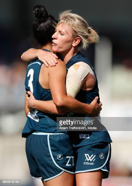 Darcy Vescio of the Blues celebrates a goal with Katie Loynes of the Blues during the 2017 AFLW Round 02 match between the Carlton Blues and the GWS...