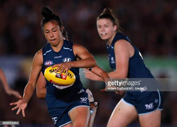 Darcy Vescio of the Blues in action during the 2017 AFLW Round 01 match between the Carlton Blues and the Collingwood Magpies at Ikon Park on...