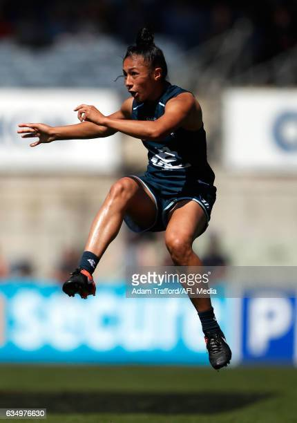 Darcy Vescio of the Blues in action during the 2017 AFLW Round 02 match between the Carlton Blues and the GWS Giants at Ikon Park on February 11 2017...