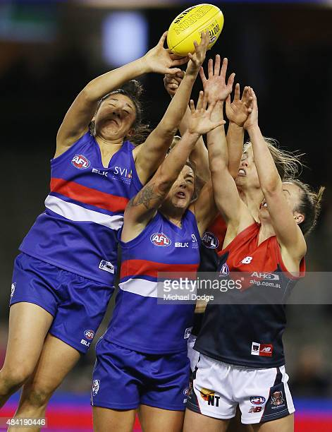 Darcy Vescio of the Bulldogs competes for the ball during a Women's AFL exhibition match between Western Bulldogs and Melbourne at Etihad Stadium on...