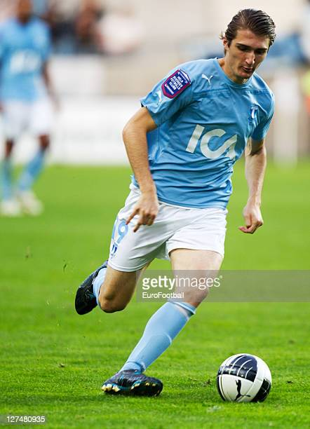 Dardan Rexhepi of Malmo FF in action during the Allsvenskan League between Malmo FF and AIK Solna at the Swedbank Stadion on September 25 2011in...