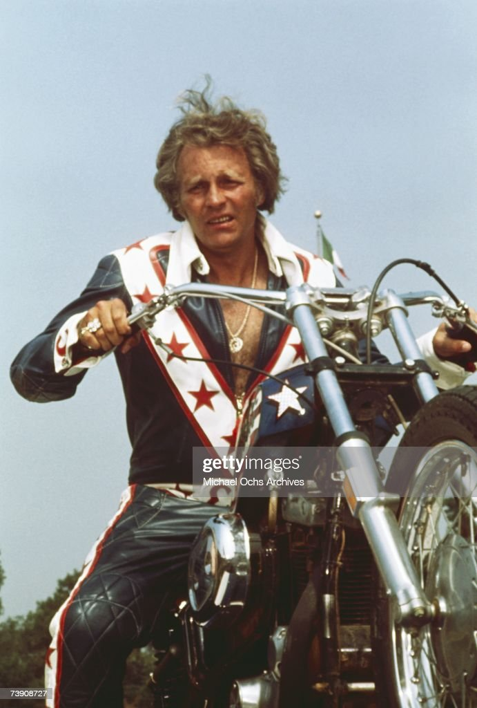 DaredEvel Evel Knievel poses on his motorcycle circa 1973.