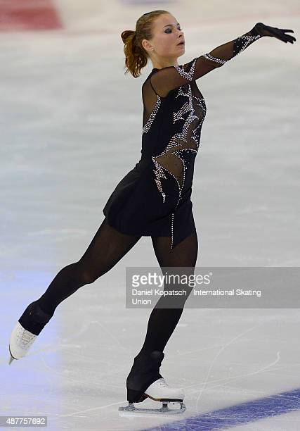 Daria Batura of Belarus skates during the junior ladies free skating of ISU Junior Grand Prix of figure skating on September 11 2015 in Linz Austria