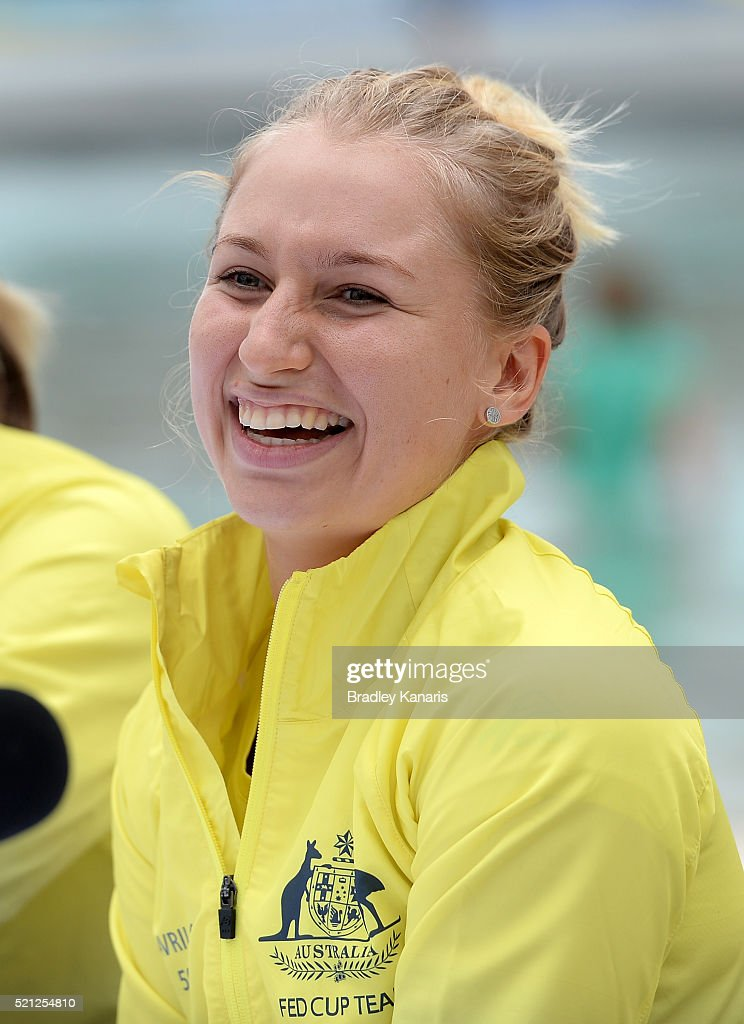 Daria Gavlirova laughs during the Fed Cup press conference at Southbank on April 15, 2016 in Brisbane, Australia.