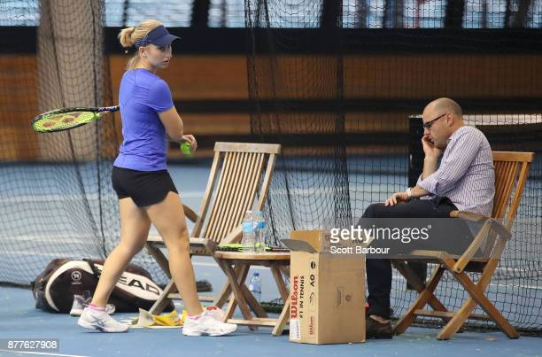 Daria Gavrilova and her manager Paul Kilderry look on during a training session ahead of next Monday's Newcombe Medal at Melbourne Park on November...