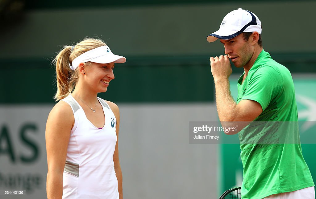 <a gi-track='captionPersonalityLinkClicked' href=/galleries/search?phrase=Daria+Gavrilova&family=editorial&specificpeople=5906023 ng-click='$event.stopPropagation()'>Daria Gavrilova</a> and <a gi-track='captionPersonalityLinkClicked' href=/galleries/search?phrase=John+Peers&family=editorial&specificpeople=9486129 ng-click='$event.stopPropagation()'>John Peers</a> of Australia talk tactics during the Mixed Doubles first round match against Hao-Ching Chan of Taipei and Jamie Murray of Great Britain on day five of the 2016 French Open at Roland Garros on May 26, 2016 in Paris, France.