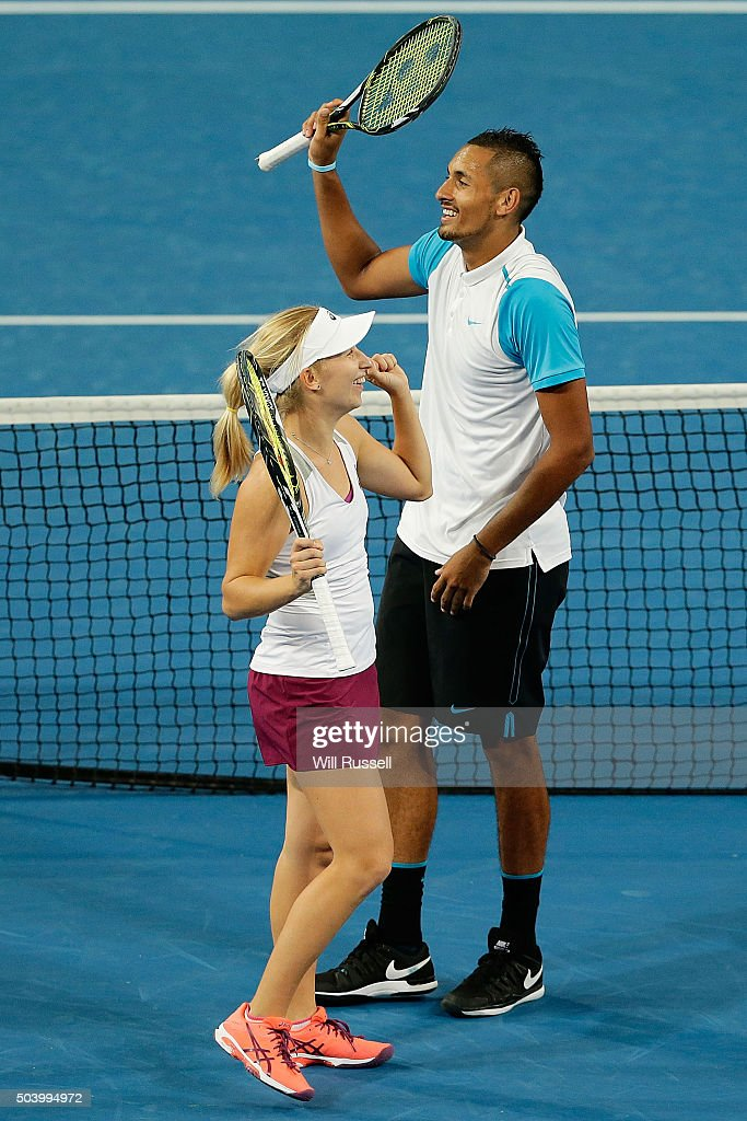 Daria Gavrilova and Nick Krygios of Australia Green celebrate after defeating Carline Garcia and Kenny De Schepper of France in the mixed doubles match during day six of the 2016 Hopman Cup at Perth Arena on January 8, 2016 in Perth, Australia.