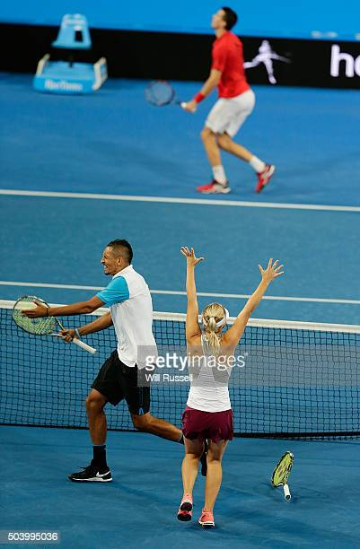 Daria Gavrilova and Nick Krygios of Australia Green celebrate after defeating Carline Garcia and Kenny De Schepper of France in the mixed doubles...