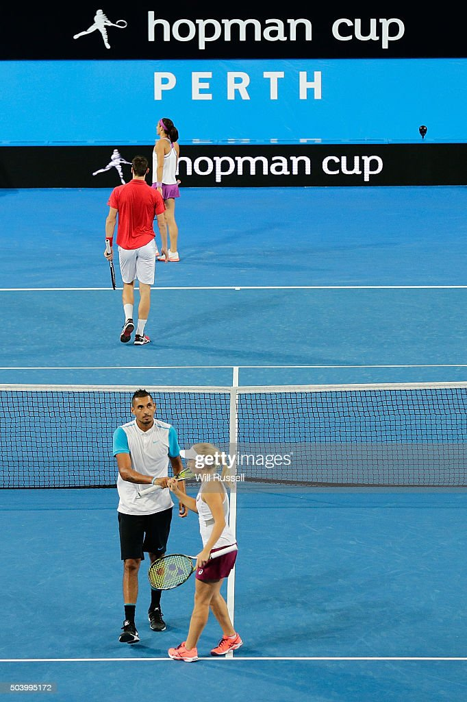 Daria Gavrilova and Nick Krygios of Australia Green celebrate winning a point in the mixed doubles match between Carline Garcia and Kenny De Schepper of France during day six of the 2016 Hopman Cup at Perth Arena on January 8, 2016 in Perth, Australia.