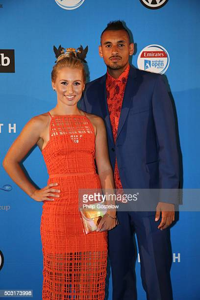 Daria Gavrilova and Nick Kyrgios arrive at the 2016 Hopman Cup Player Party at Perth Crown on January 2 2016 in Perth Australia