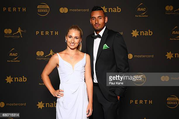 Daria Gavrilova and Nick Kyrgios of Australia pose on the blue carpert during the Hopman Cup New Year's Eve Gala at the Crown Perth on December 31...