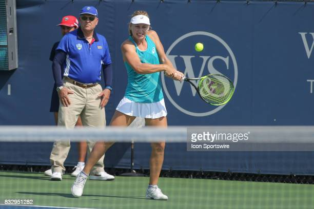 Daria Gavrilova hits a backhand during the Western Southern Open at the Lindner Family Tennis Center in Mason Ohio on August 16 2017