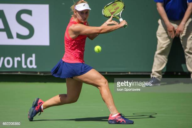 Daria Gavrilova hits a backhand in the second round of the BNP Paribas Open on March 10 2017 at Indian Wells Tennis Garden in Indian Wells CA