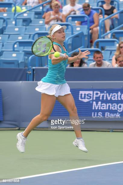 Daria Gavrilova hits a forehand during the Western Southern Open at the Lindner Family Tennis Center in Mason Ohio on August 14 2017