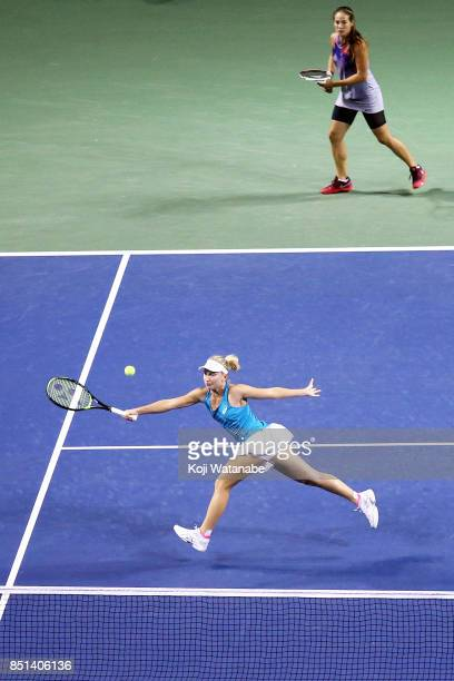 Daria Gavrilova of Australia and Daria Kasatkina of Russia competes against Makoto Ninomiya of Japan and Renata Voracova of Czech Republic during day...