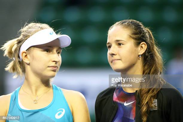 Daria Gavrilova of Australia and Daria Kasatkina of Russia look on Andreja Klepac of Slovenia and Maria Jose Martinez of Spain in the Doubles Finals...