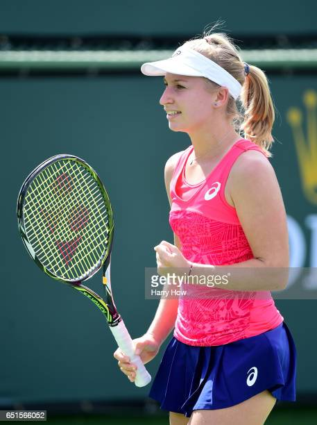 Daria Gavrilova of Australia celebrates a game in her straight set win over Yanina Wickmeyer of Belgium at Indian Wells Tennis Garden on March 10...