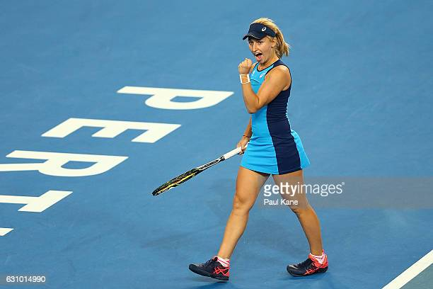 Daria Gavrilova of Australia celebrates a point against Coco Vandeweghe of the United States during the women's singles match on day five of the 2017...