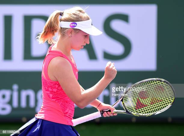 Daria Gavrilova of Australia celebrates a point in her straight set win over Yanina Wickmeyer of Belgium at Indian Wells Tennis Garden on March 10...