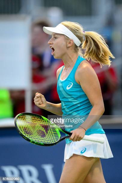 Daria Gavrilova of Australia celebrates after winning the first set during her first round match of the 2017 Rogers Cup tennis tournament on August 8...