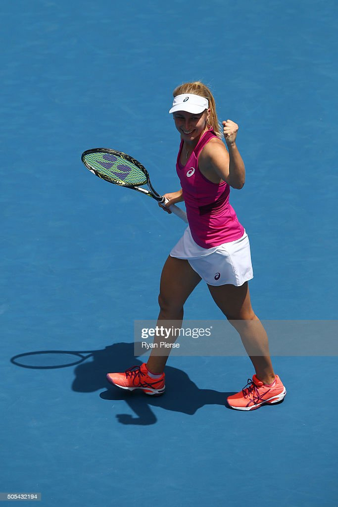 <a gi-track='captionPersonalityLinkClicked' href=/galleries/search?phrase=Daria+Gavrilova&family=editorial&specificpeople=5906023 ng-click='$event.stopPropagation()'>Daria Gavrilova</a> of Australia celebrates winning her first round match against Lucie Hradecka of Czech Republic during day one of the 2016 Australian Open at Melbourne Park on January 18, 2016 in Melbourne, Australia.