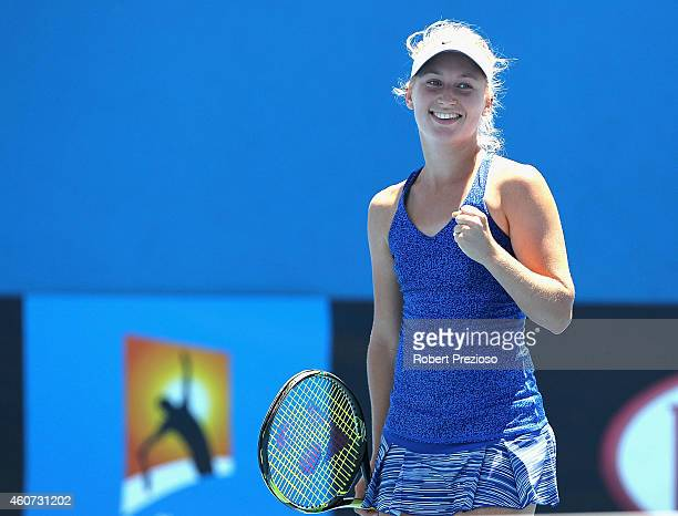 Daria Gavrilova of Australia celebrates winning the final match against Arina Rodionova of Australia during the 2015 Australian Open play off at...