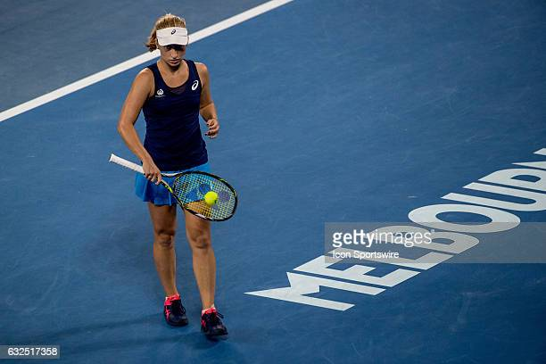 Daria Gavrilova of Australia collects a tennis ball from the balked in readiness for her serve during the fourth round of the 2017 Australian Open on...